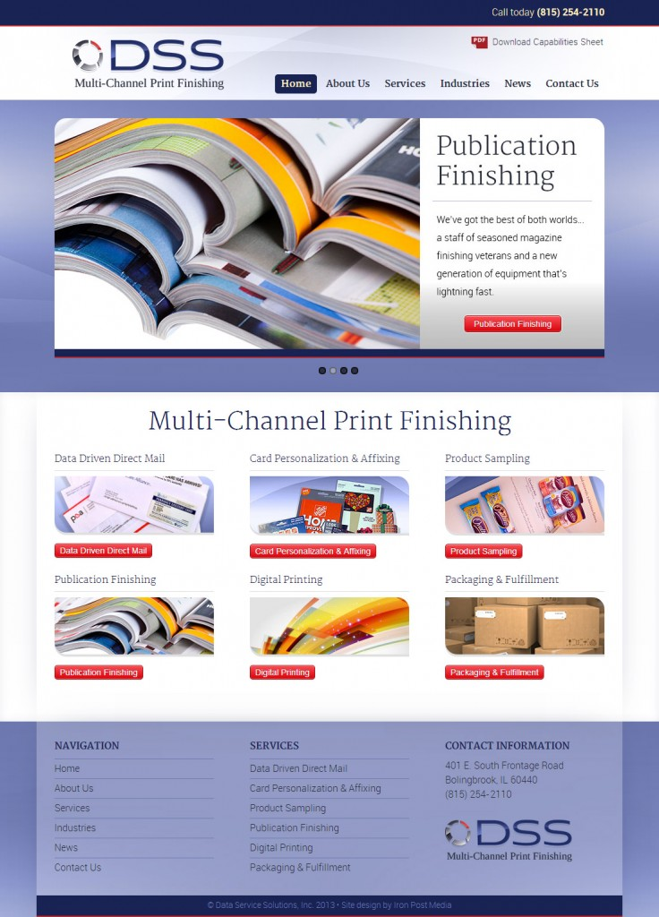 Print company home page redesign