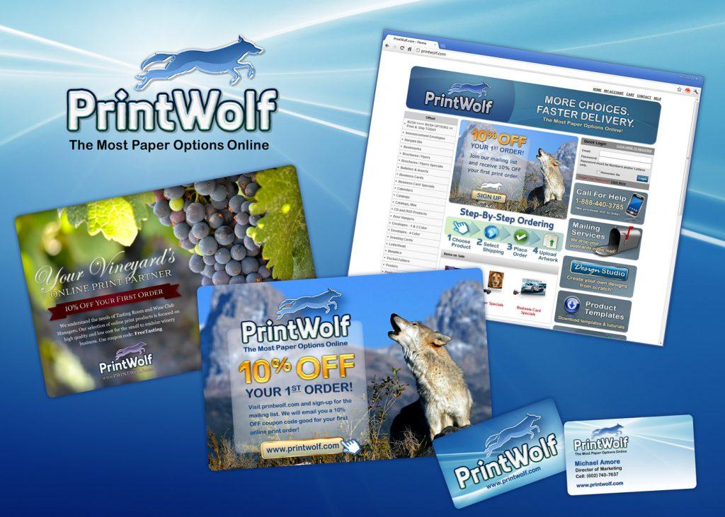 PrintWolf logo design and branding