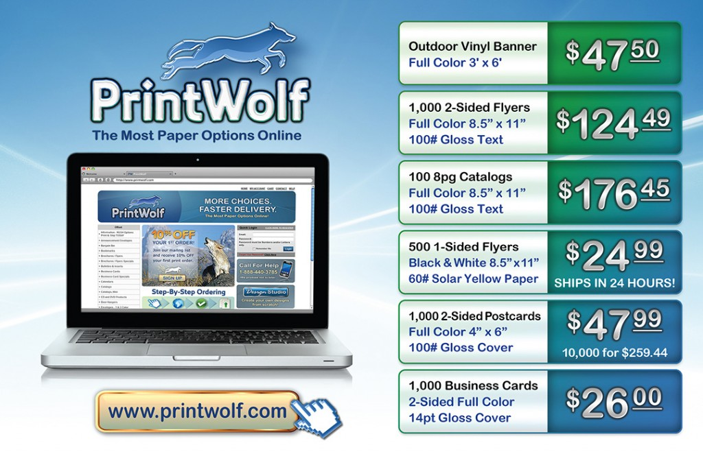 Direct mail piece for online printer promotion