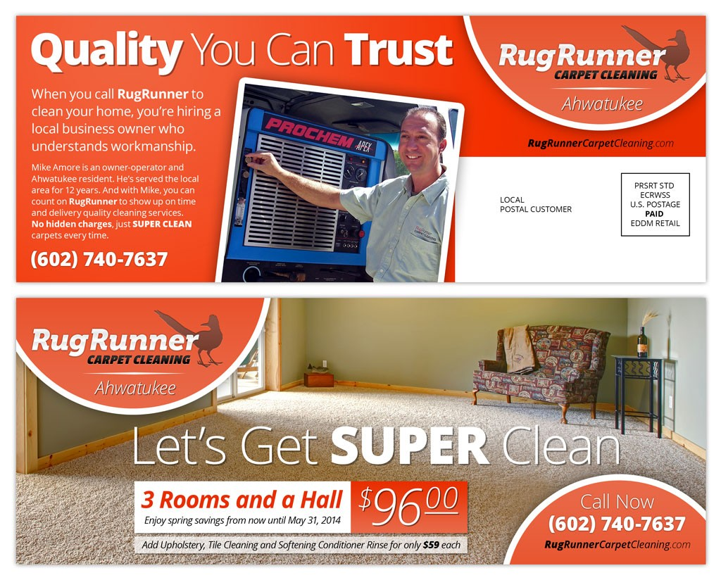 small business carpet cleaner direct mail design