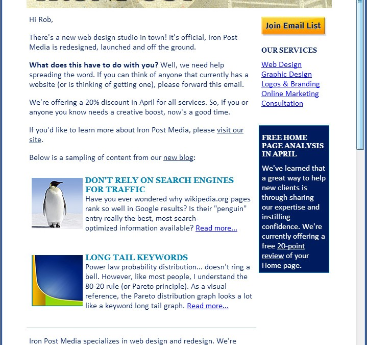 Email Marketing for Iron Post Media