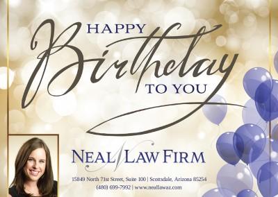 Birthday card design for Arizona law firm
