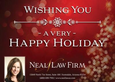 Happy Holidays postcard design for Arizona attorney