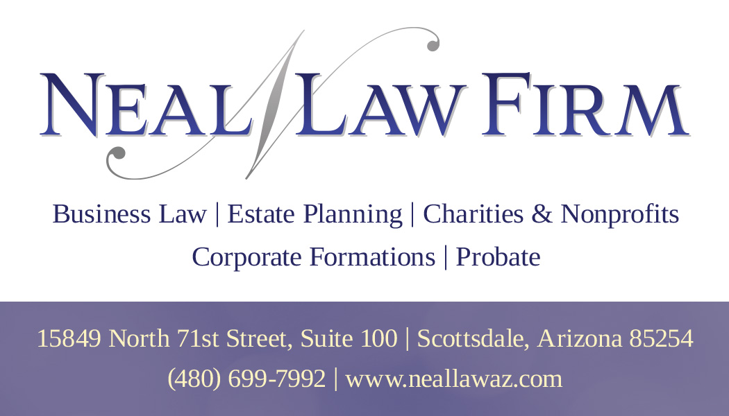 Law firm business card design with services and location