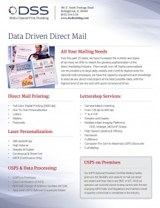 Sales sheet print design for direct mail services