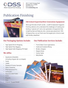 Sales sheet print design for finishing services