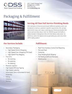 Sales sheet print design for packaging services