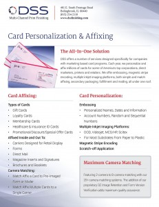 Sales sheet print design for personalization services