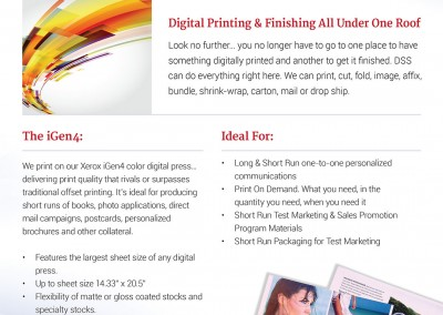 Sales sheet print design for digital printing services