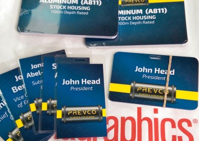 Photo of Prevco Subsea product cards and name badges