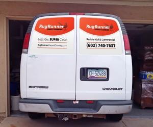 Window decal design mockup for carpet cleaning van