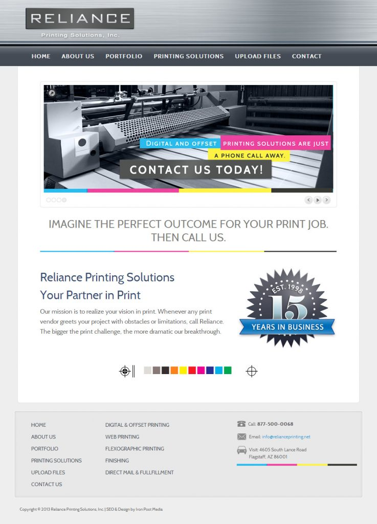 Reliance Printing website Home page design