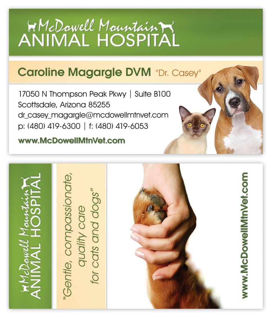 Business card design for animal hospital in Scottsdale, Arizona