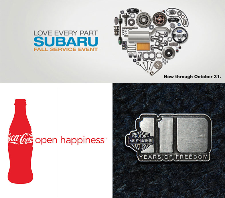 Examples of brand messaging from Coke, Subaru, and Harley Davidson