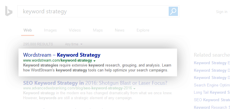 Keyword Strategy SERP snippet