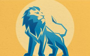 Flat lion illustration with grain and paper textures