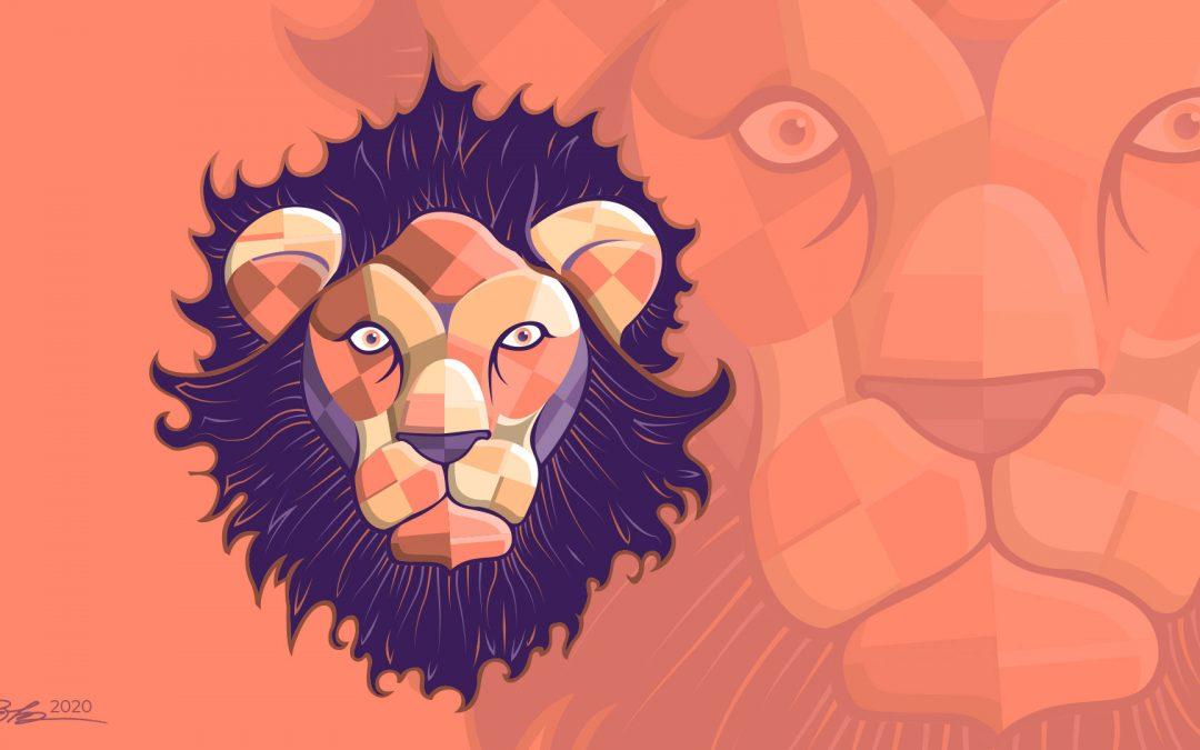 Stoic Lion Face Illustration
