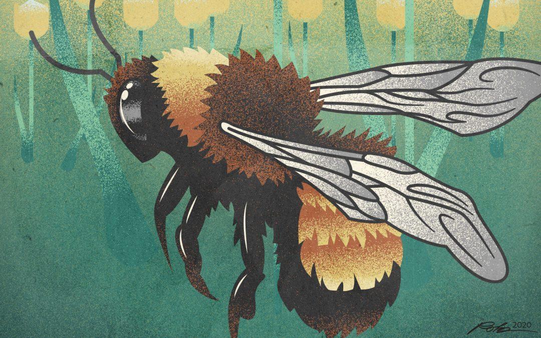 Retro Bee Illustration Poster
