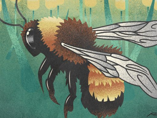 Retro Bee Illustration Poster