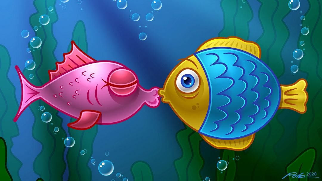 Cartoon kissing fish illustration vector art