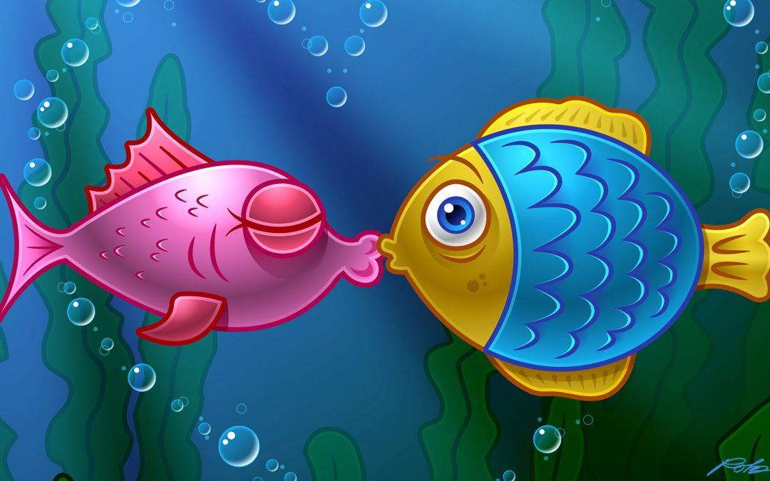 Kissing Fish: Illustrator Vector Art