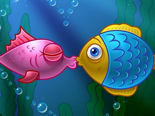 Kissing Fish: Illustrator Vector Art