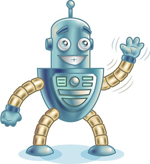 cartoon robot illustration waving