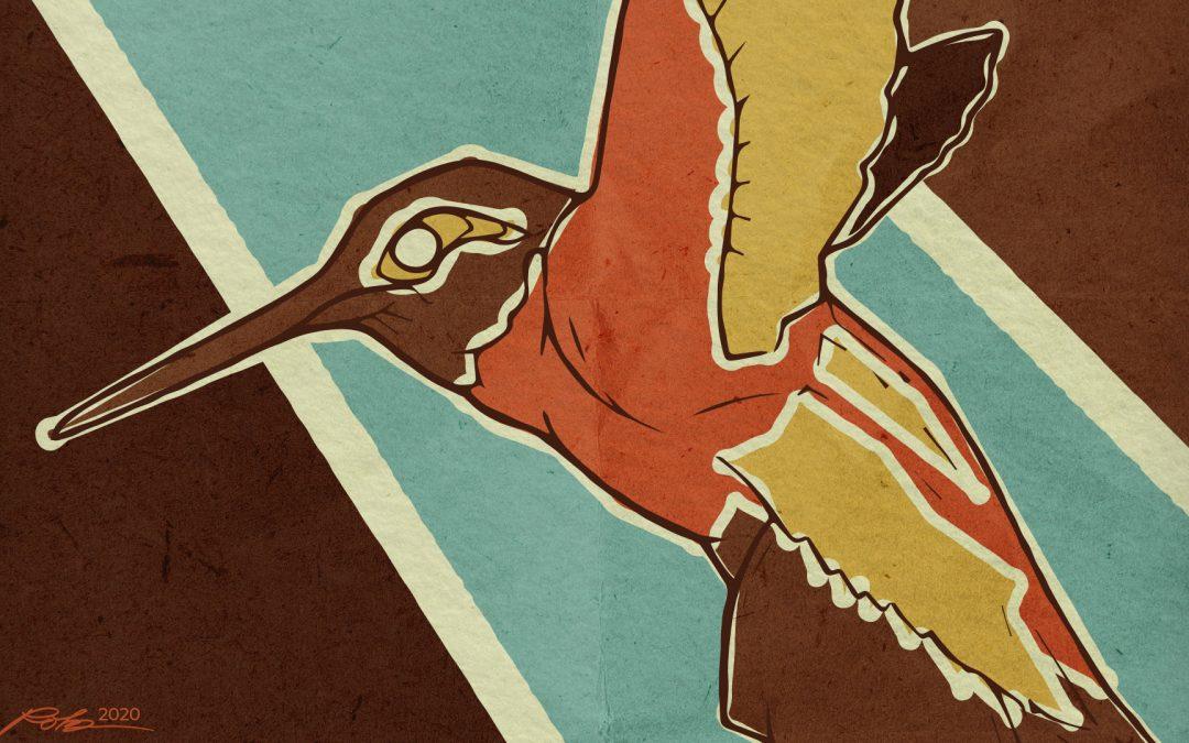 Retro Hummingbird Illustration