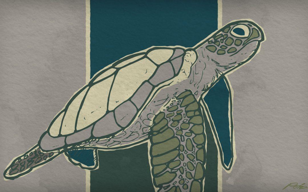 Retro Sea Turtle Illustration